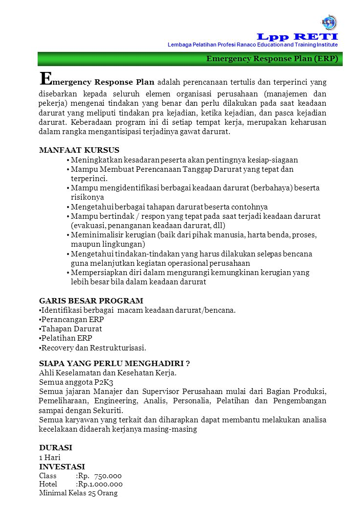 Lpp RETI Lembaga Pelatihan Profesi Ranaco Education and Training Institute. Emergency Response Plan (ERP)