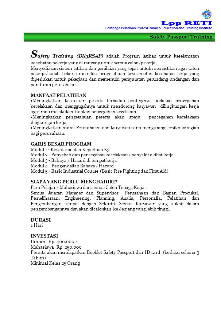 Lpp RETI Lembaga Pelatihan Profesi Ranaco Education and Training Institute. Safety Passport Training.