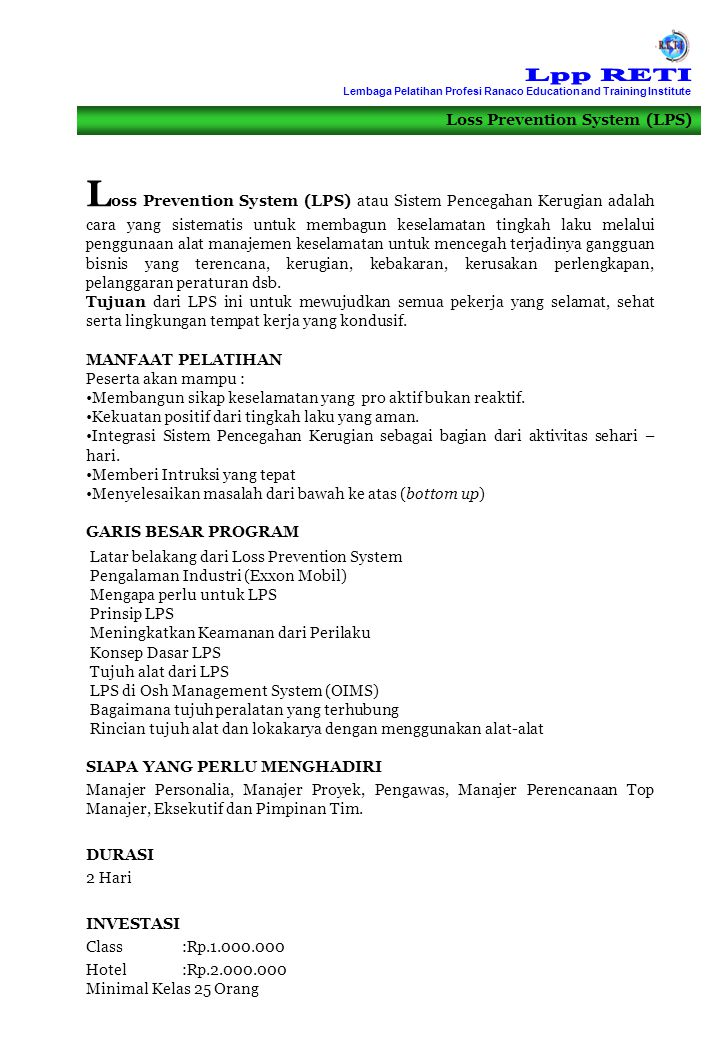 Lpp RETI Lembaga Pelatihan Profesi Ranaco Education and Training Institute. Loss Prevention System (LPS)