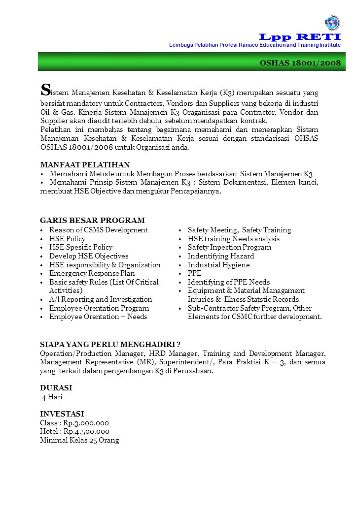 Lpp RETI Lembaga Pelatihan Profesi Ranaco Education and Training Institute. OSHAS 18001/2008.