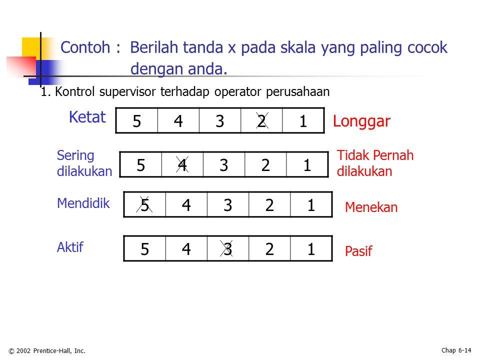 Contoh : Berilah tanda x pada skala yang paling cocok dengan anda.