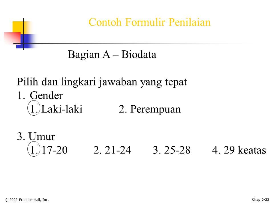 Contoh Formulir Penilaian