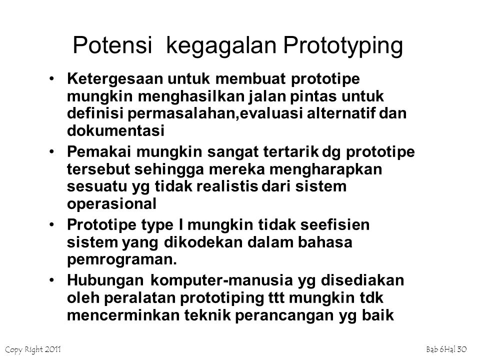 Potensi kegagalan Prototyping