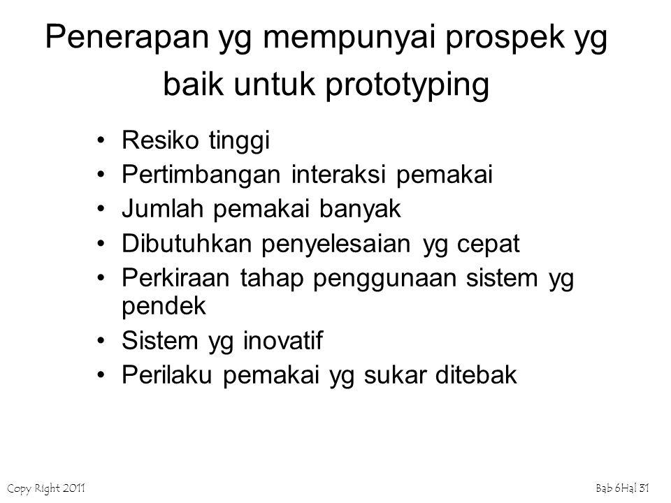 Penerapan yg mempunyai prospek yg baik untuk prototyping