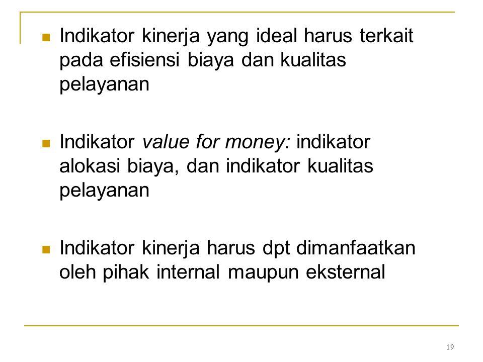 Indikator kinerja yang ideal harus terkait pada efisiensi biaya dan kualitas pelayanan