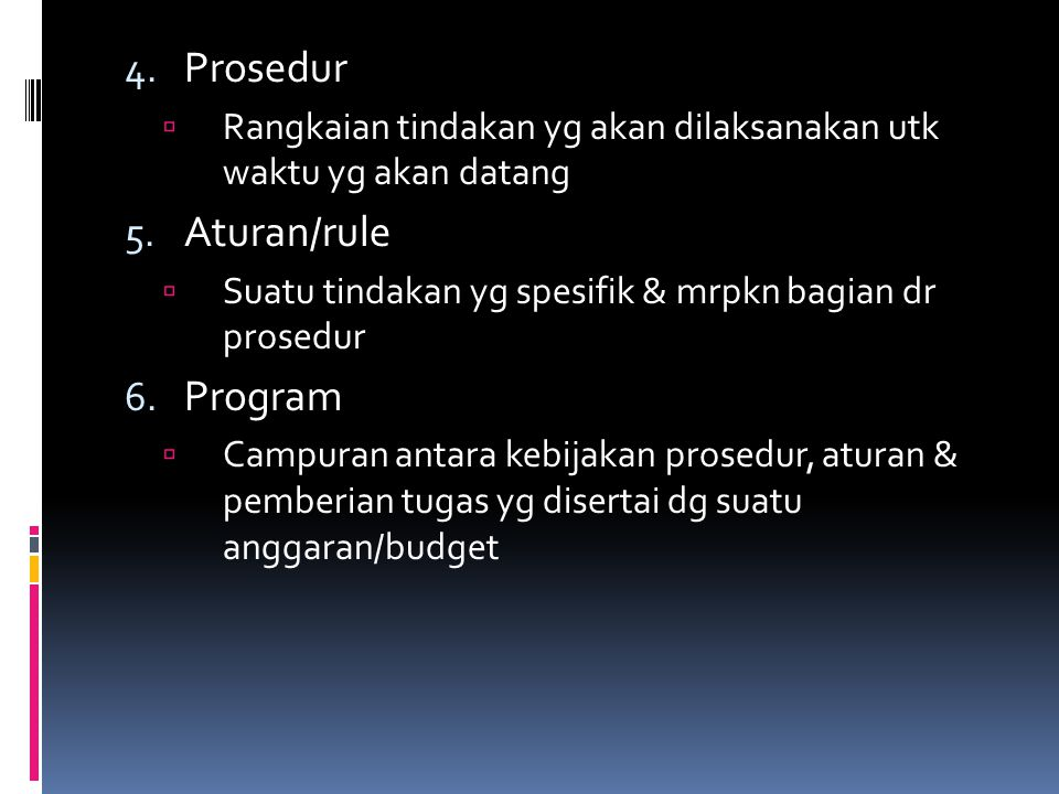 Prosedur Aturan/rule Program
