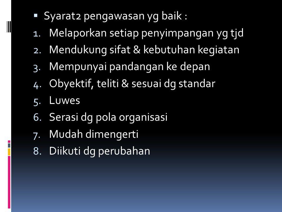 Syarat2 pengawasan yg baik :