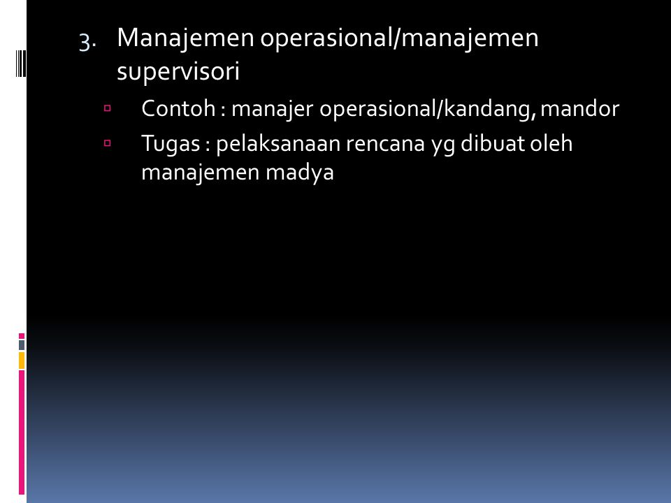 Manajemen operasional/manajemen supervisori