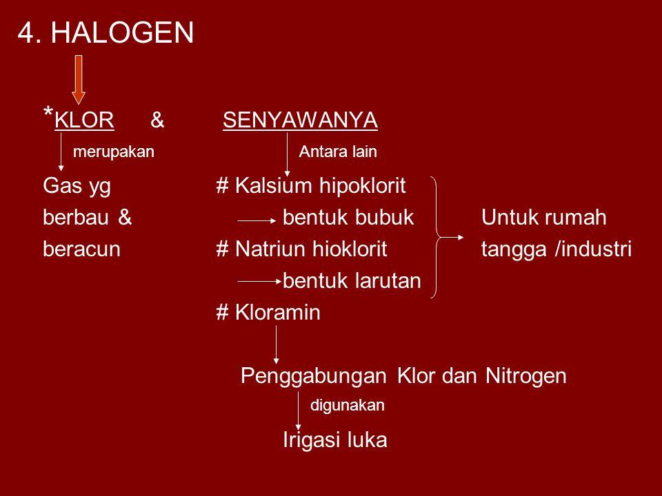 4. HALOGEN *KLOR & SENYAWANYA Gas yg # Kalsium hipoklorit