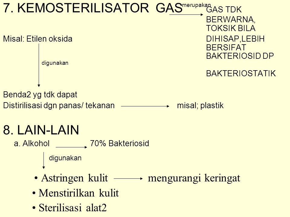 7. KEMOSTERILISATOR GAS GAS TDK BERWARNA, TOKSIK BILA