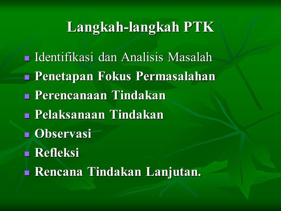 Langkah-langkah PTK Identifikasi dan Analisis Masalah