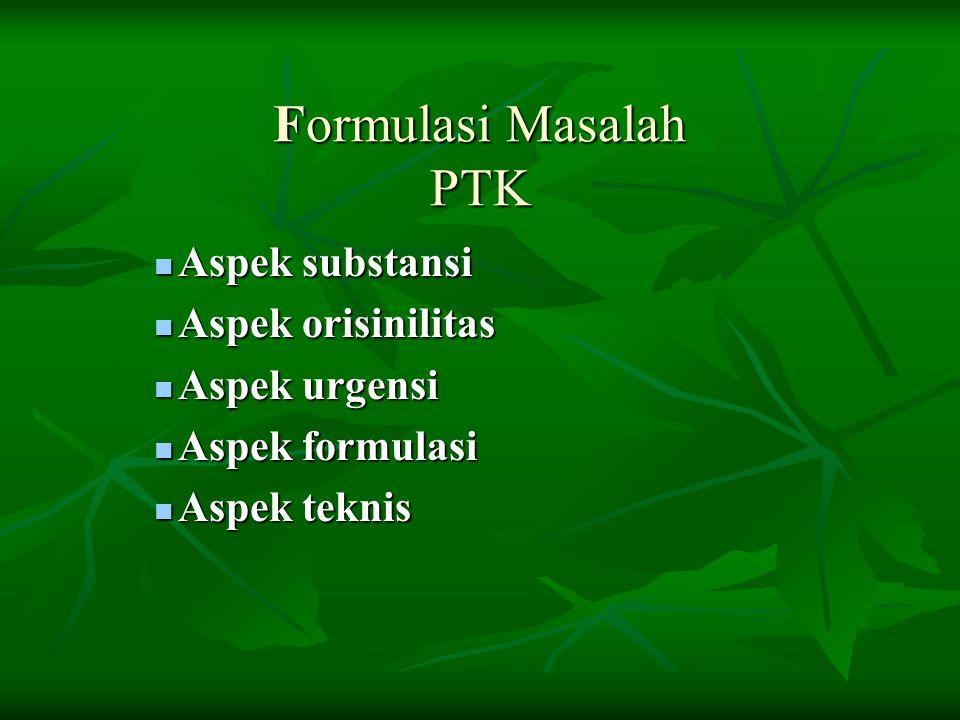 Formulasi Masalah PTK Aspek substansi Aspek orisinilitas Aspek urgensi