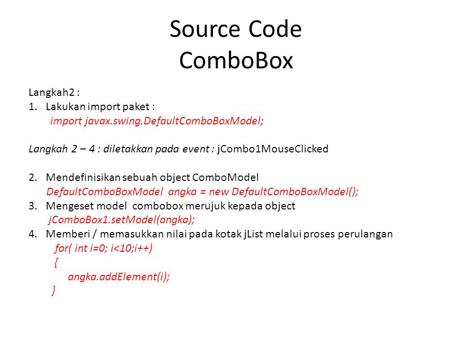 Source Code ComboBox