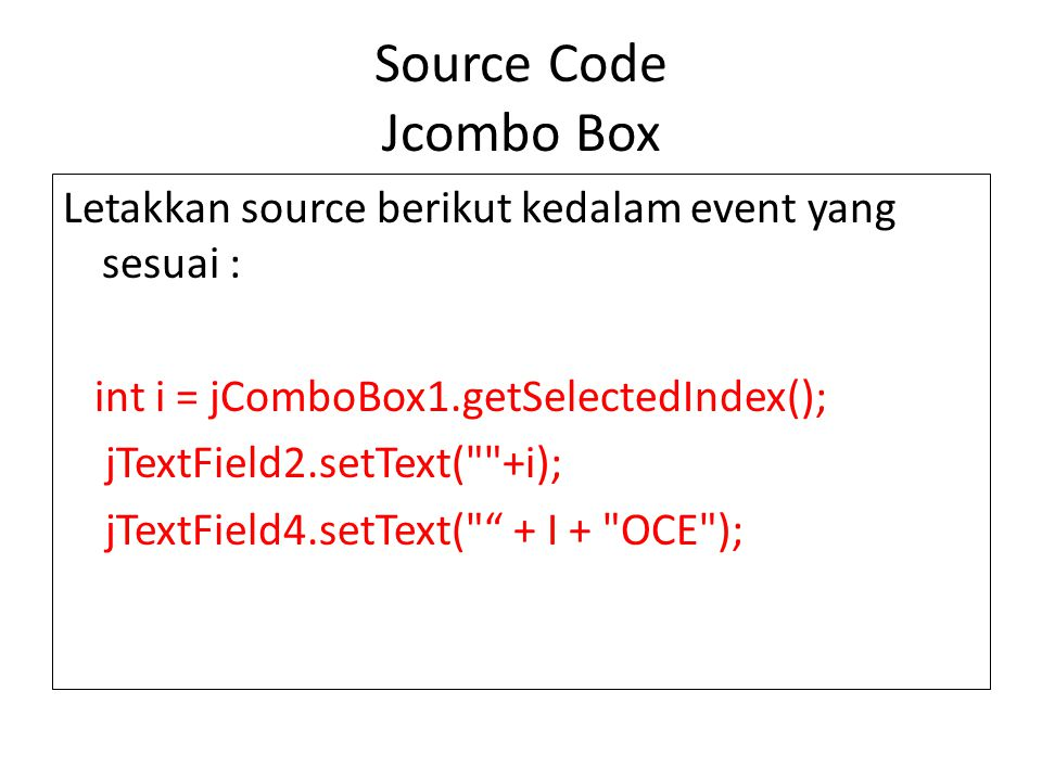 Source Code Jcombo Box