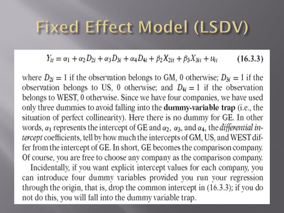 Fixed Effect Model (LSDV)