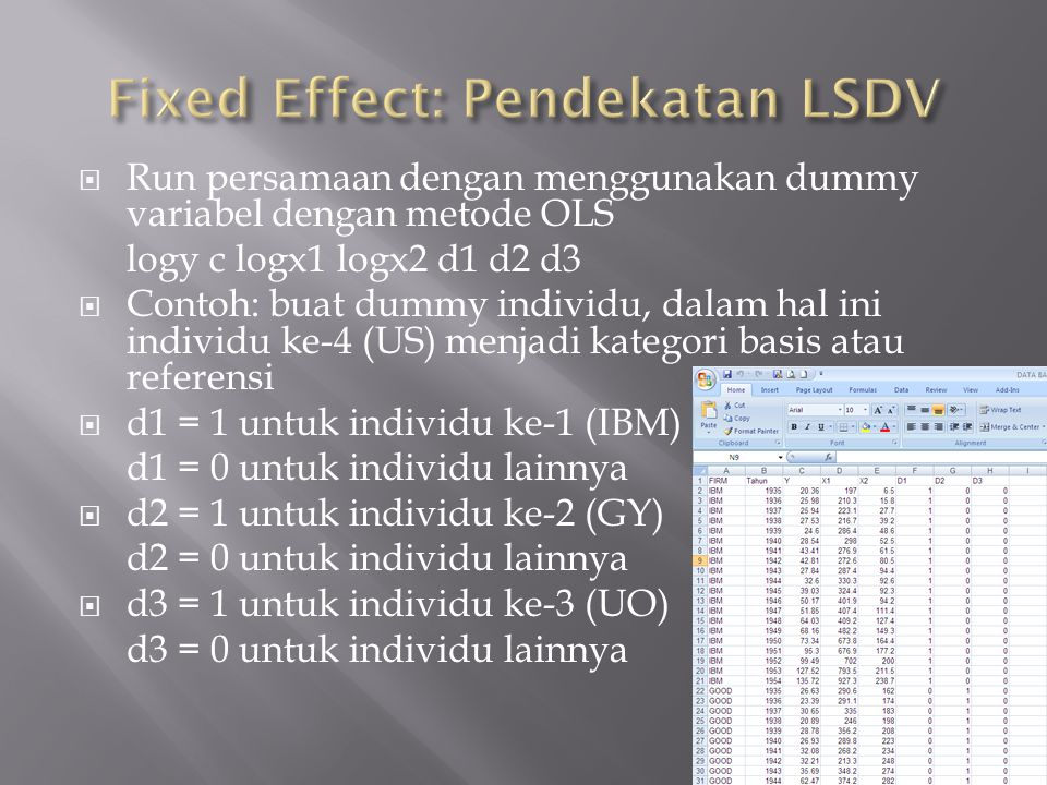 Fixed Effect: Pendekatan LSDV