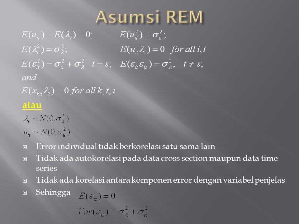 Asumsi REM atau Error individual tidak berkorelasi satu sama lain