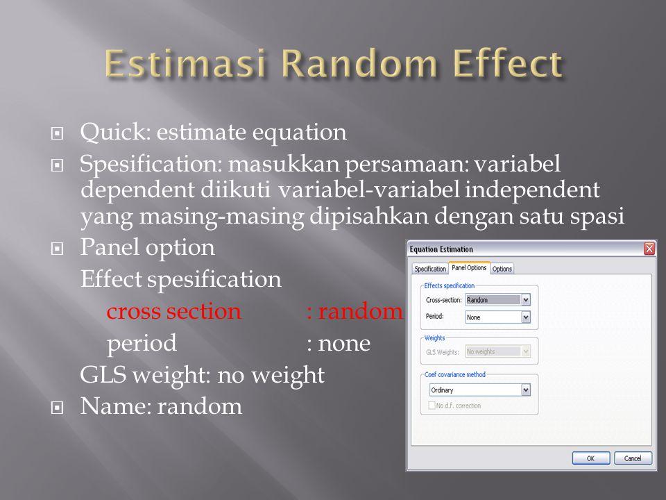 Estimasi Random Effect