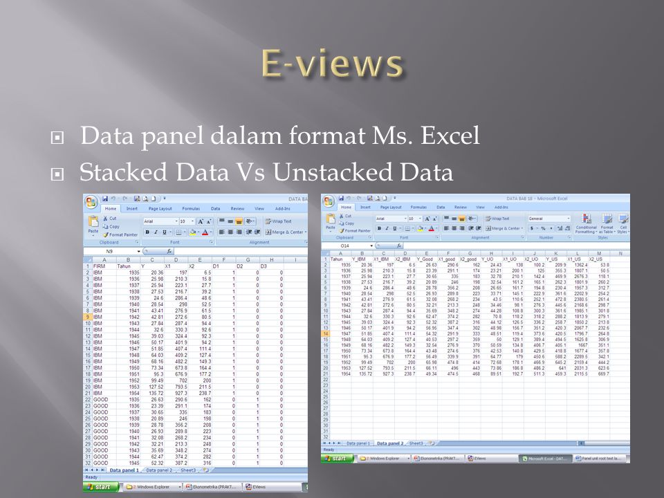 E-views Data panel dalam format Ms. Excel