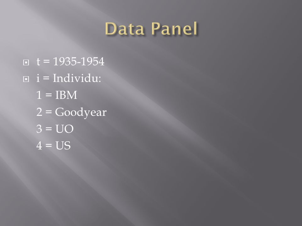 Data Panel t = 1935-1954 i = Individu: 1 = IBM 2 = Goodyear 3 = UO