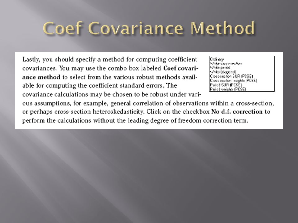 Coef Covariance Method