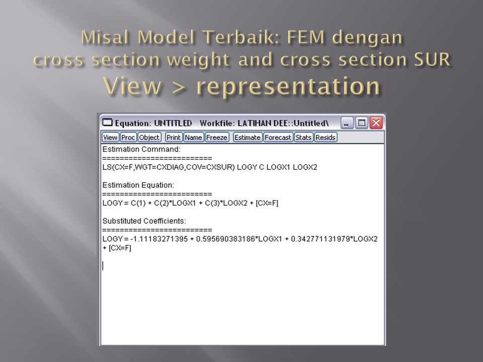 Misal Model Terbaik: FEM dengan cross section weight and cross section SUR View > representation