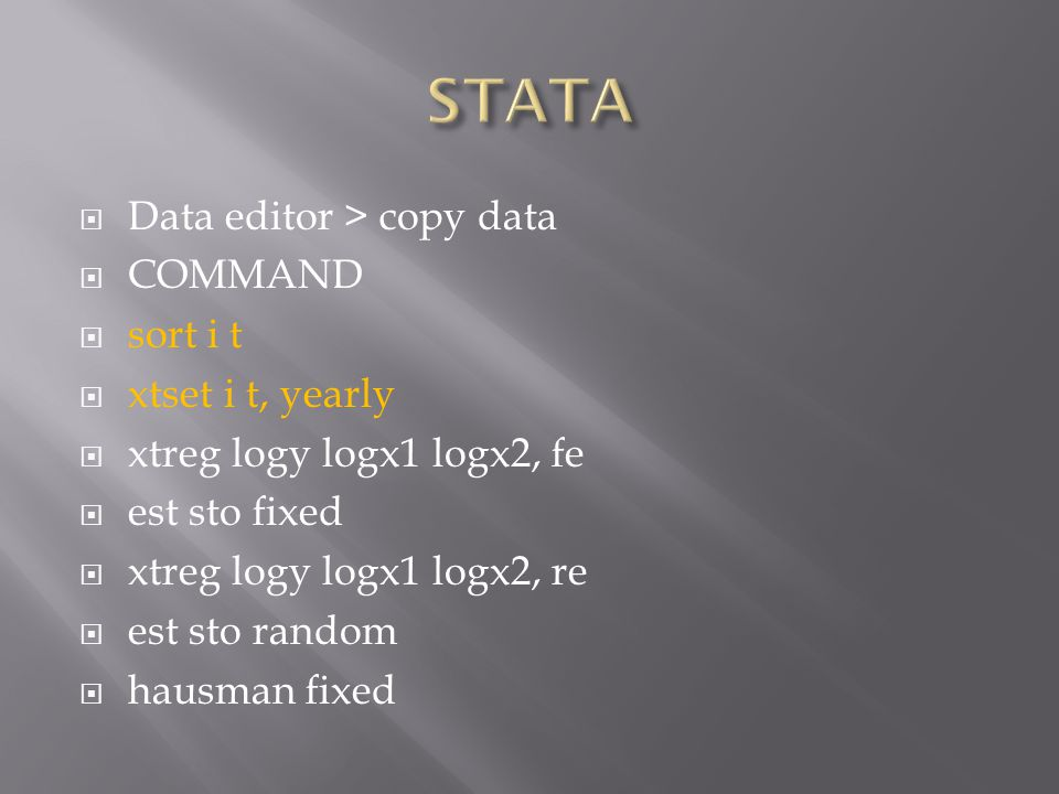 STATA Data editor > copy data COMMAND sort i t xtset i t, yearly