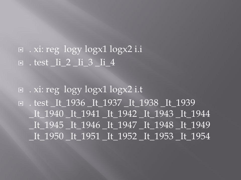 . xi: reg logy logx1 logx2 i.i
