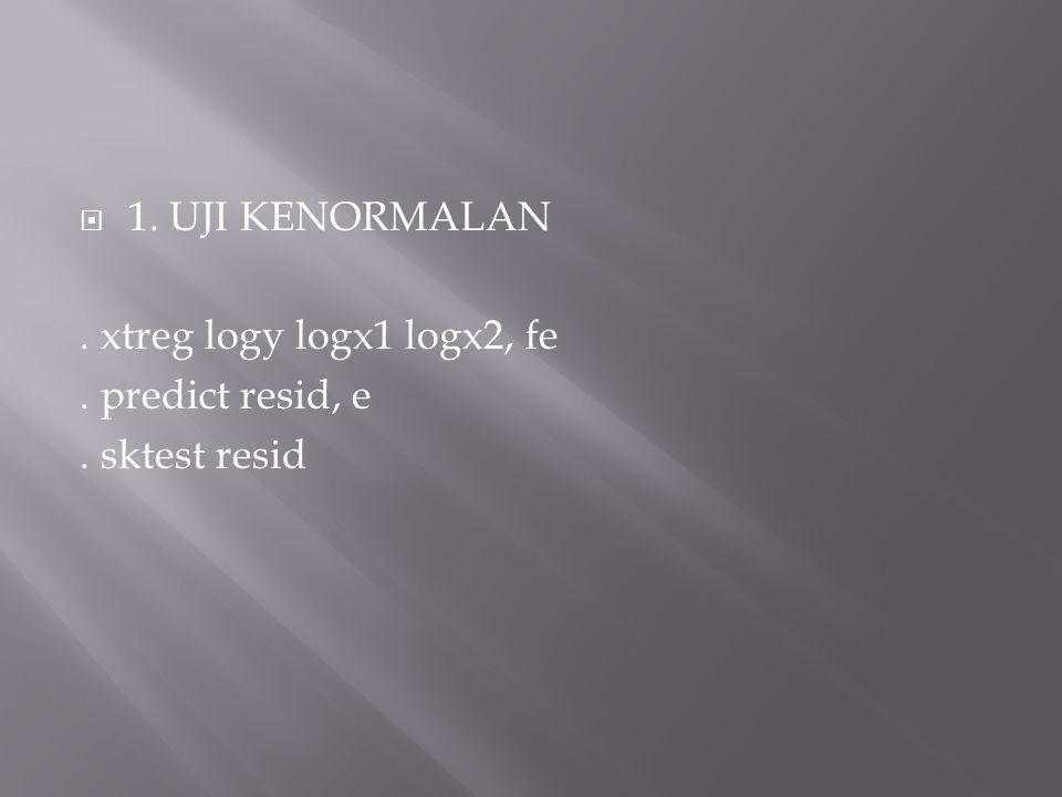 1. UJI KENORMALAN . xtreg logy logx1 logx2, fe . predict resid, e . sktest resid