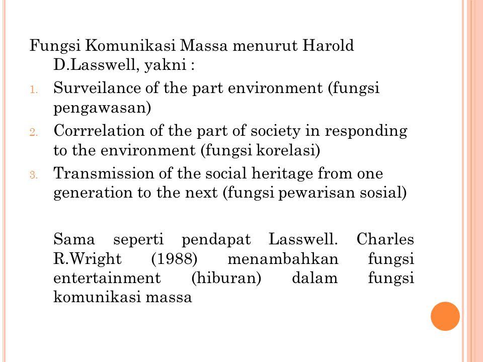 Fungsi Komunikasi Massa menurut Harold D.Lasswell, yakni :