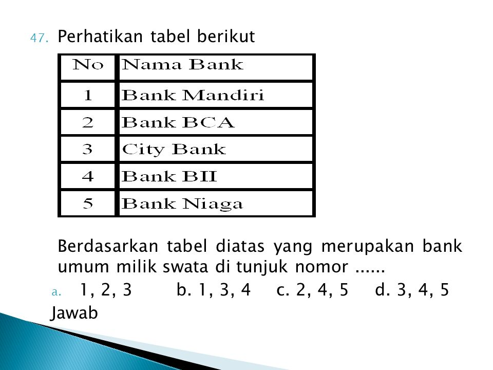 Perhatikan tabel berikut
