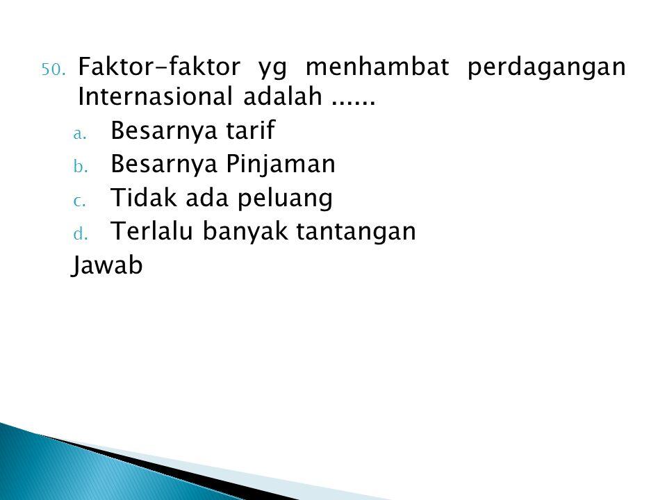 Faktor-faktor yg menhambat perdagangan Internasional adalah ......