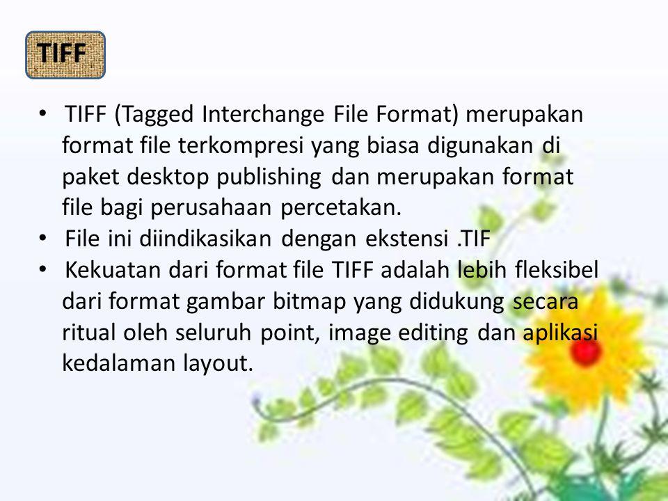 TIFF TIFF (Tagged Interchange File Format) merupakan