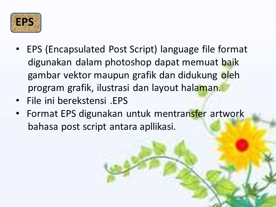 EPS EPS (Encapsulated Post Script) language file format