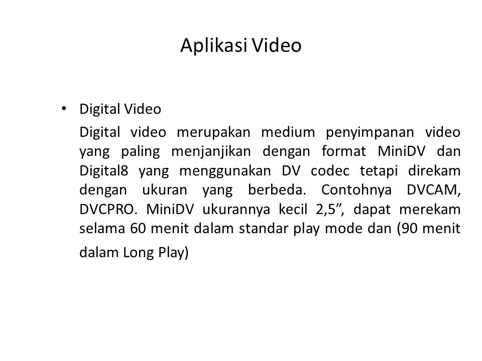 Aplikasi Video Digital Video