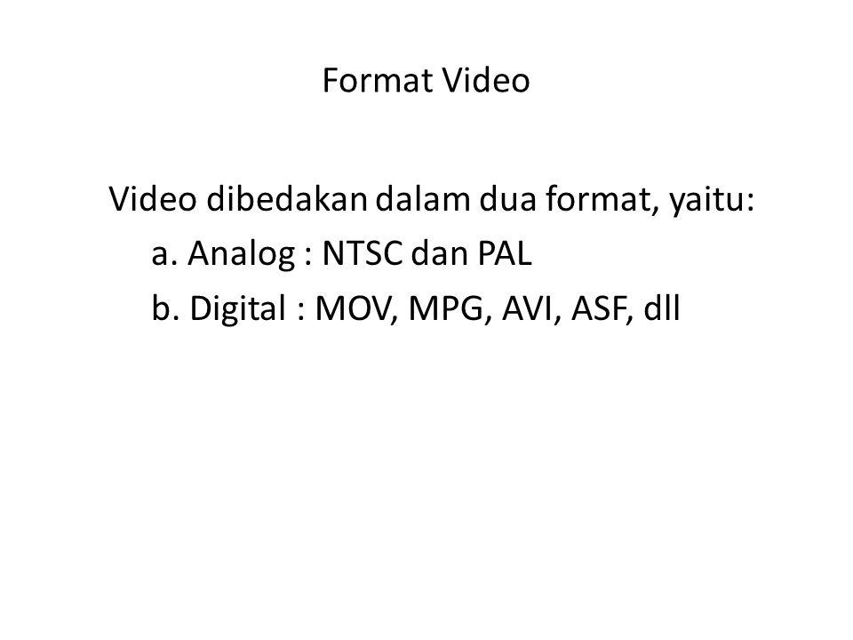 Format Video Video dibedakan dalam dua format, yaitu: a.