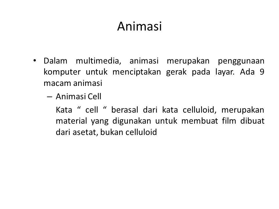 Animasi Dalam multimedia, animasi merupakan penggunaan komputer untuk menciptakan gerak pada layar. Ada 9 macam animasi.