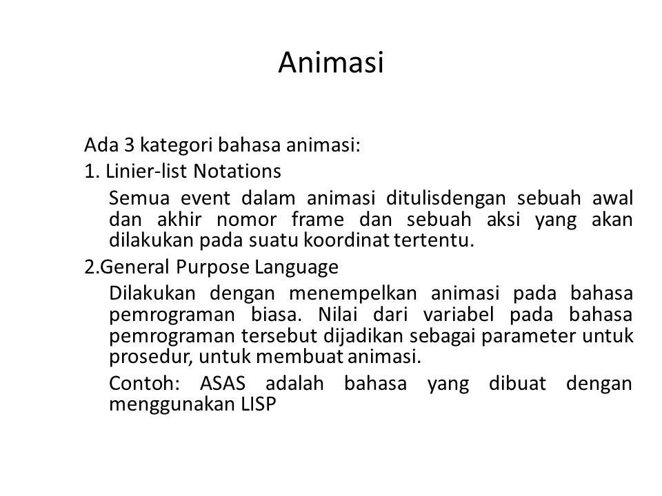 Animasi Ada 3 kategori bahasa animasi: 1. Linier-list Notations