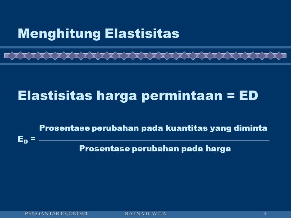 Menghitung Elastisitas Elastisitas harga permintaan = ED Prosentase perubahan pada kuantitas yang diminta ED = Prosentase perubahan pada harga