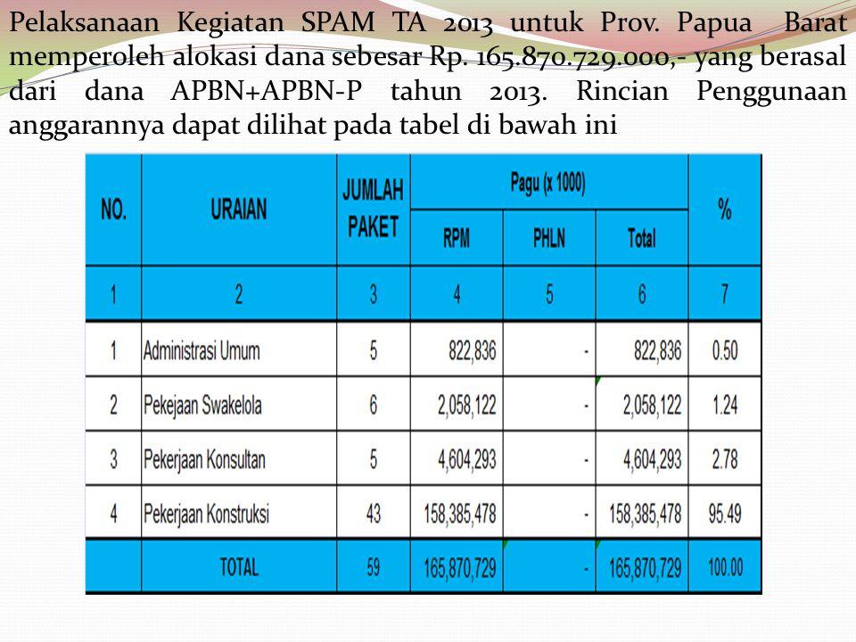 Pelaksanaan Kegiatan SPAM TA 2013 untuk Prov