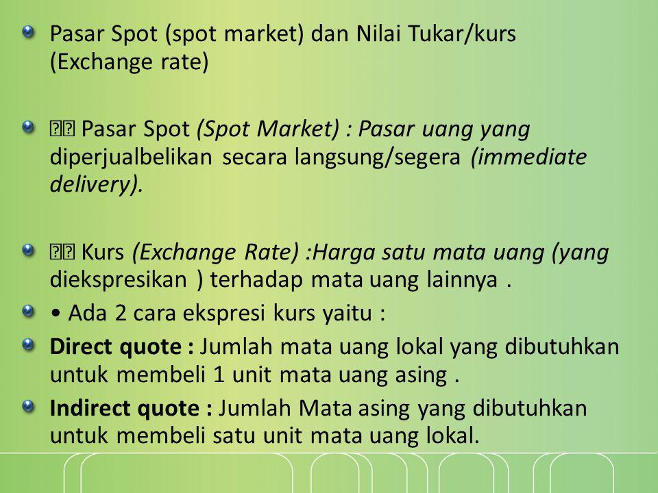 Pasar Spot (spot market) dan Nilai Tukar/kurs (Exchange rate)