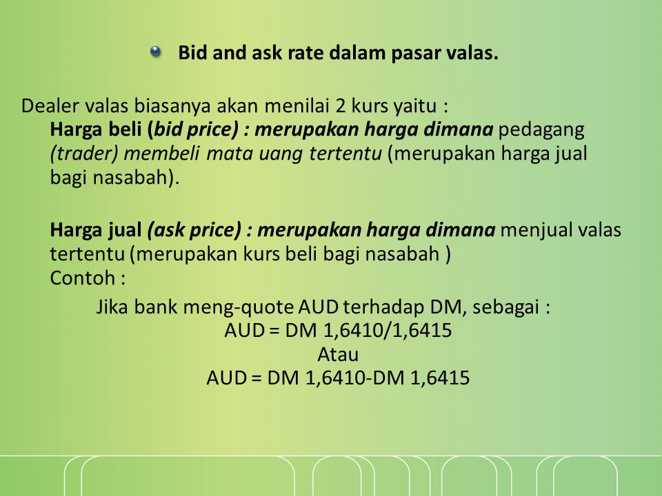 Bid and ask rate dalam pasar valas.