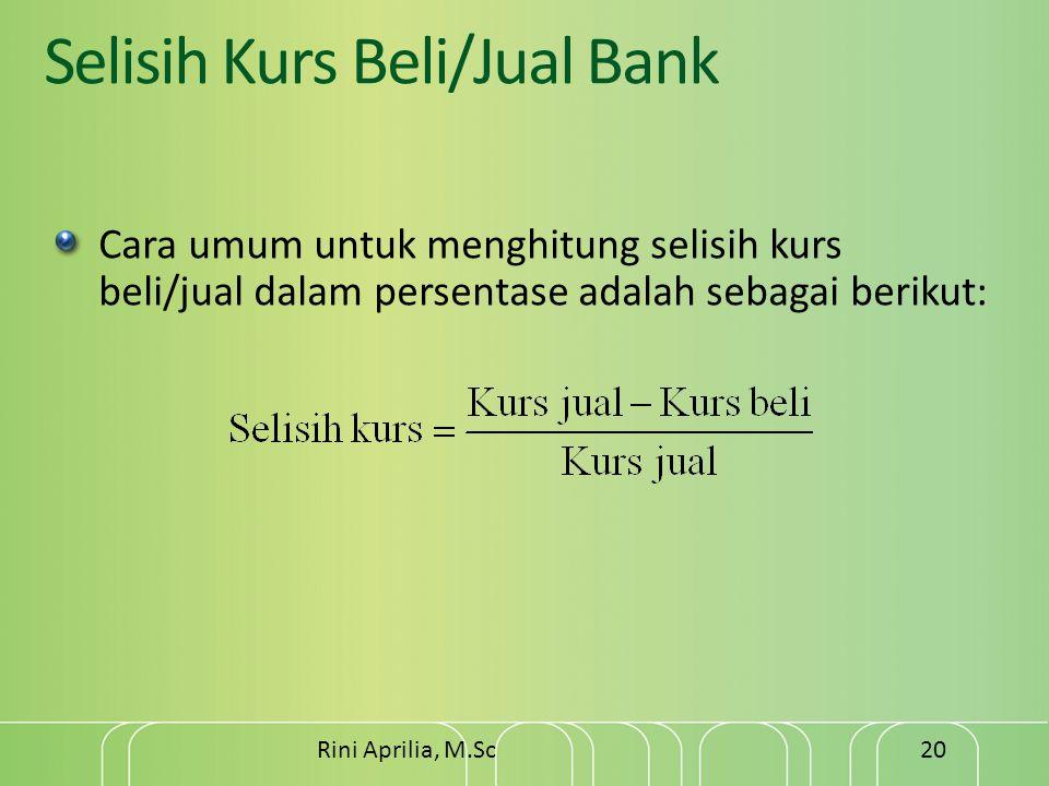 Selisih Kurs Beli/Jual Bank