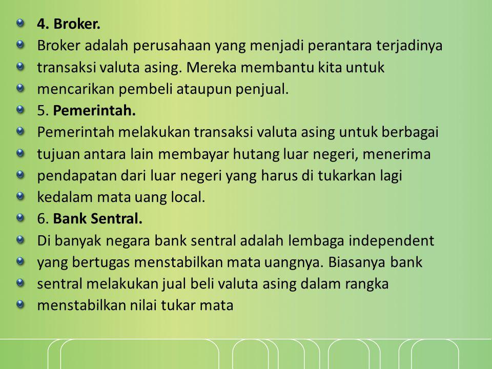 4. Broker. Broker adalah perusahaan yang menjadi perantara terjadinya. transaksi valuta asing. Mereka membantu kita untuk.