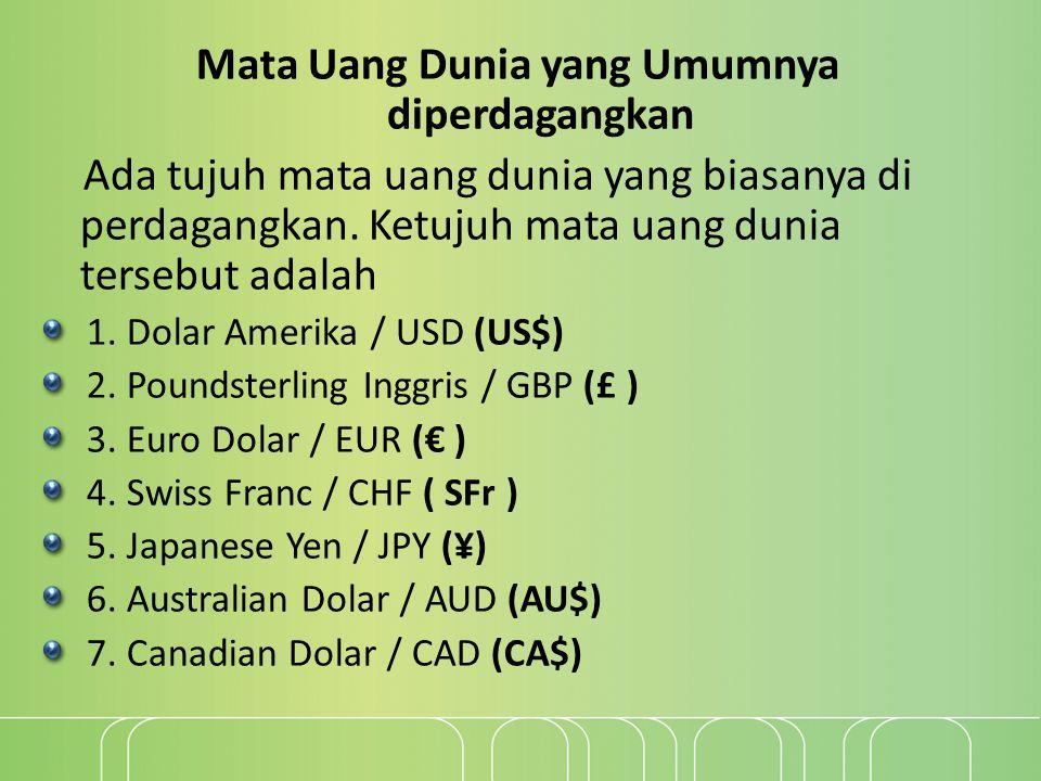 Mata Uang Dunia yang Umumnya diperdagangkan
