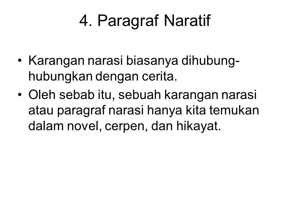 4. Paragraf Naratif Karangan narasi biasanya dihubung-hubungkan dengan cerita.