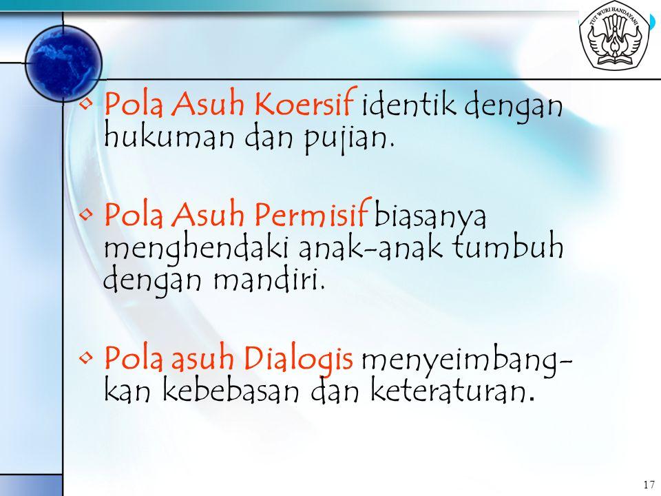 Pola Asuh Koersif identik dengan hukuman dan pujian.