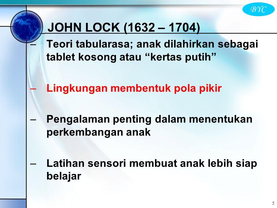JOHN LOCK (1632 – 1704) Teori tabularasa; anak dilahirkan sebagai tablet kosong atau kertas putih