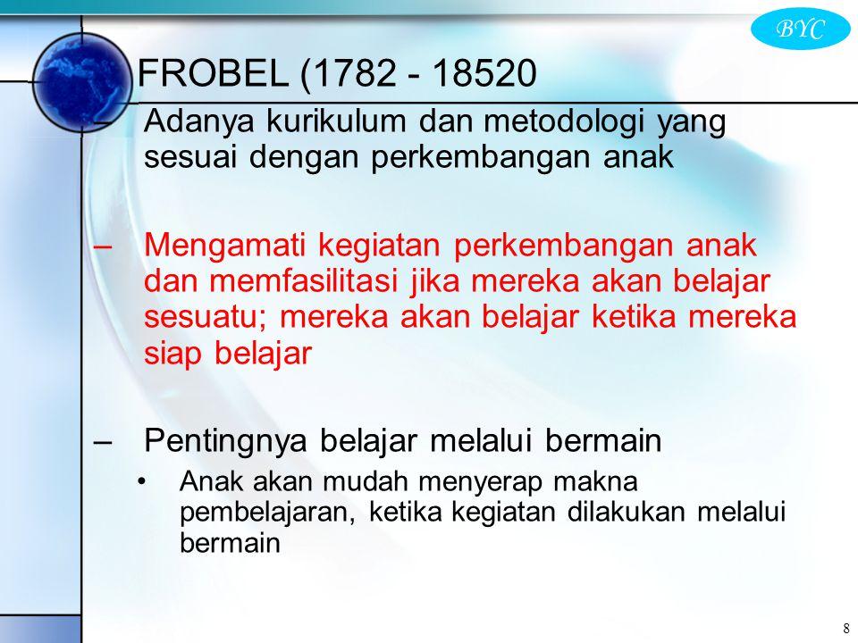 FROBEL (1782 - 18520 Adanya kurikulum dan metodologi yang sesuai dengan perkembangan anak.