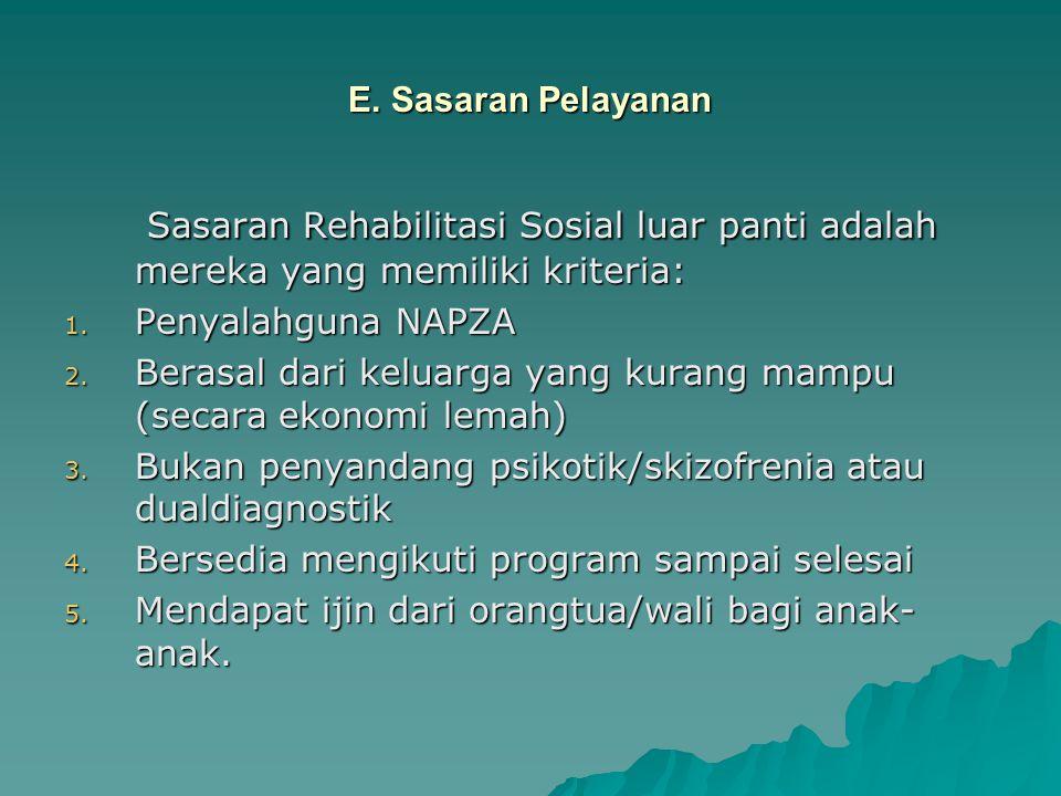 E. Sasaran Pelayanan Sasaran Rehabilitasi Sosial luar panti adalah mereka yang memiliki kriteria: Penyalahguna NAPZA.